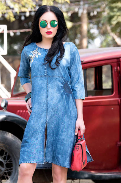 Avashya IndiGo Denim Vol 6 Kurti Wholesale Catalog 6 Pcs