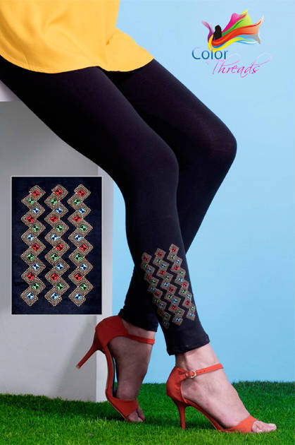 Color Threads Embroidered Leggings Vol 2 Wholesale Catalog 10 Pcs