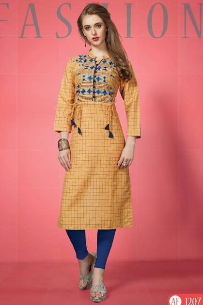 Feminista Fashion Checkered Kurti Wholesale Catalog 10 Pcs