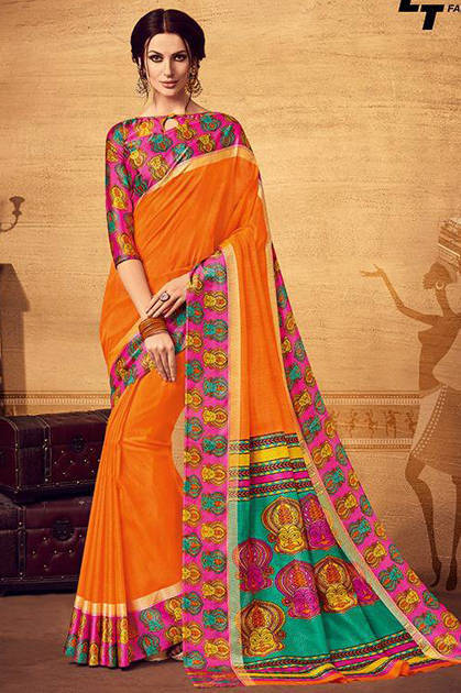 Lt Fabrics Leher Saree Sari Wholesale Catalog 10 Pcs