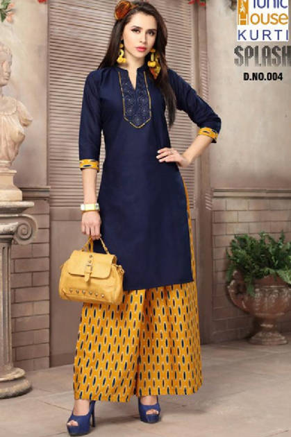 Tunic House Splash Kurti with Plazzo Wholesale Catalog 10 Pcs