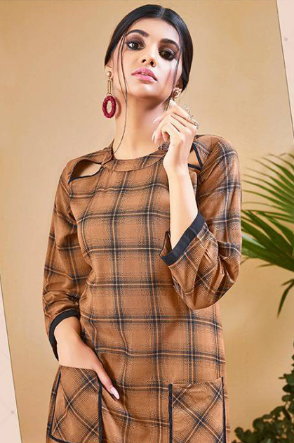 S More Checks Vol 5 Kurti Wholesale Catalog 12 Pcs