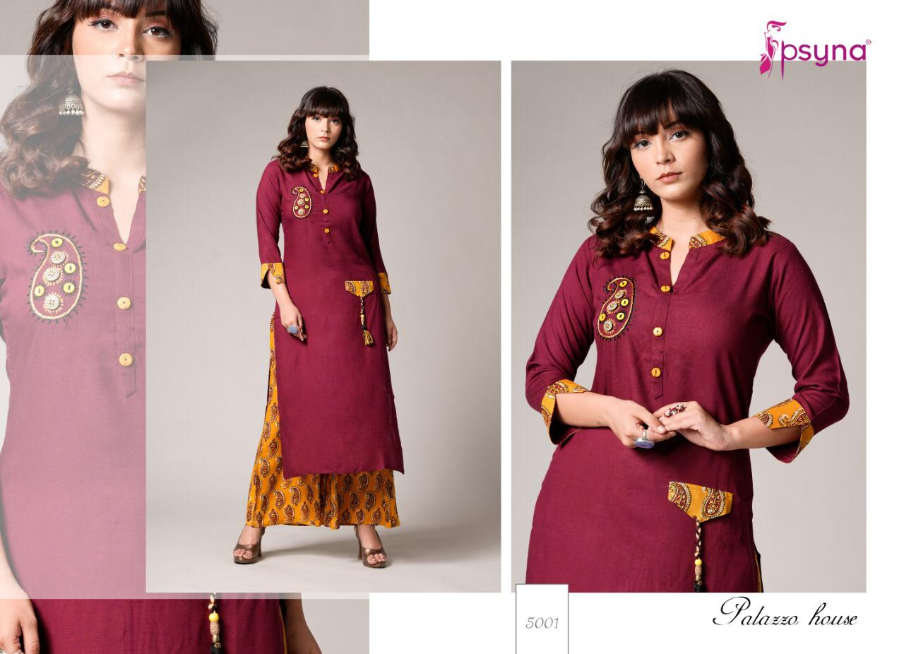 Psyna Palazzo House Vol 5 Kurti with Palazzo Wholesale Catalog 10 Pcs 8 - Psyna Palazzo House Vol 5 Kurti with Palazzo Wholesale Catalog 10 Pcs
