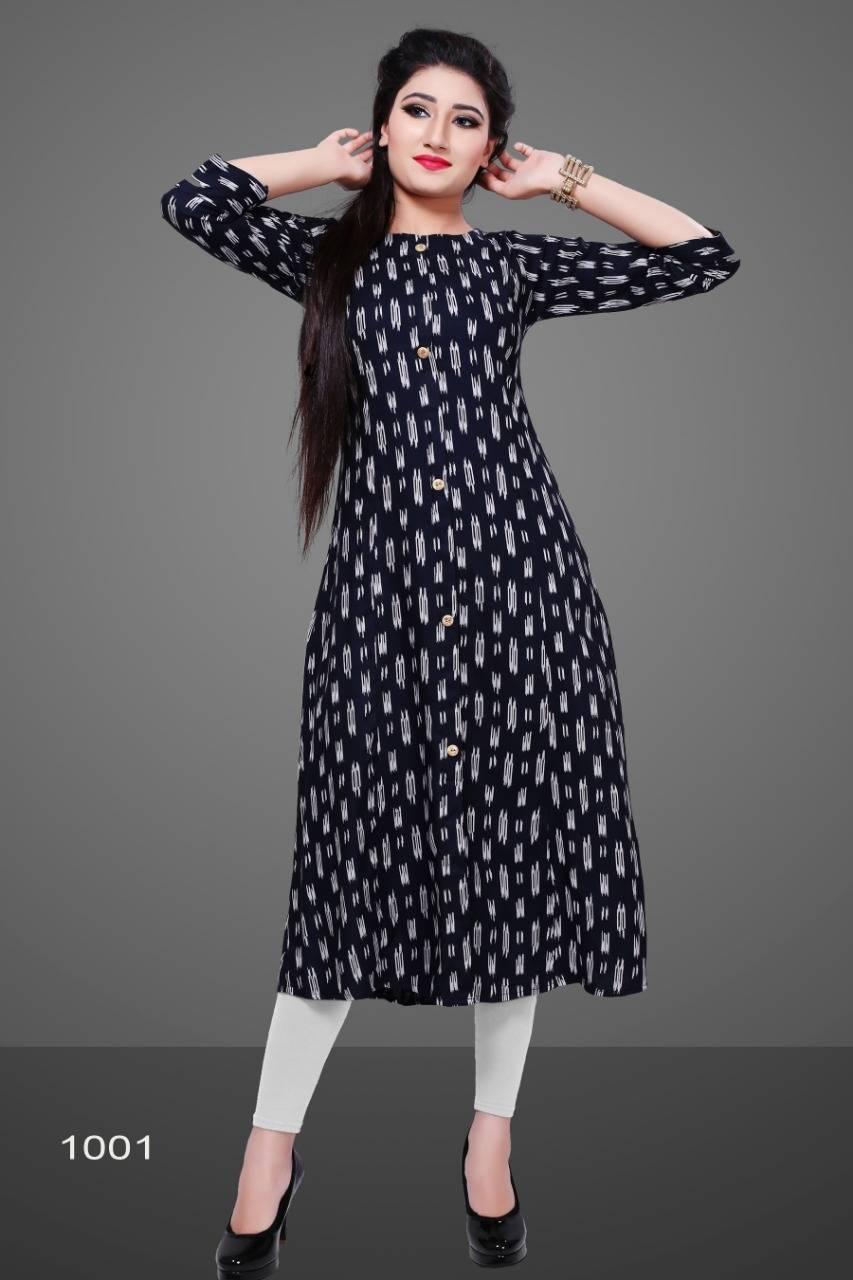 Avashya Rayon A-Line D1001 Kurti Size Set Wholesale 3 pcs