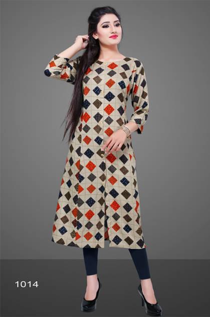 Avashya Rayon A-Line D1014 Kurti Size Set Wholesale 3 Pcs
