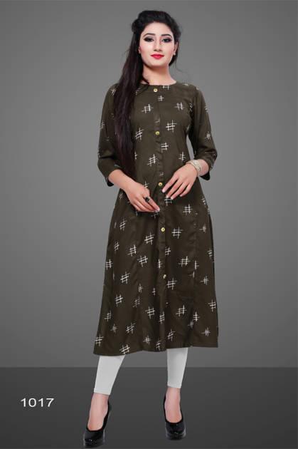 Avashya Rayon A-Line D1017 Kurti Size Set Wholesale 3 Pcs