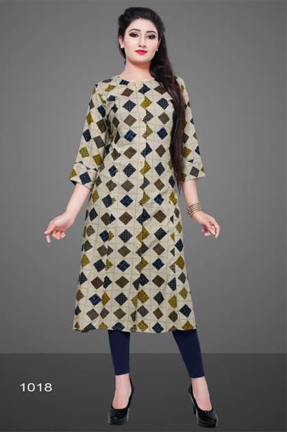Avashya Rayon A-Line D1018 Kurti Size Set Wholesale 3 Pcs