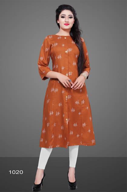 Avashya Rayon A-Line D1020 Kurti Size Set Wholesale 3 Pcs