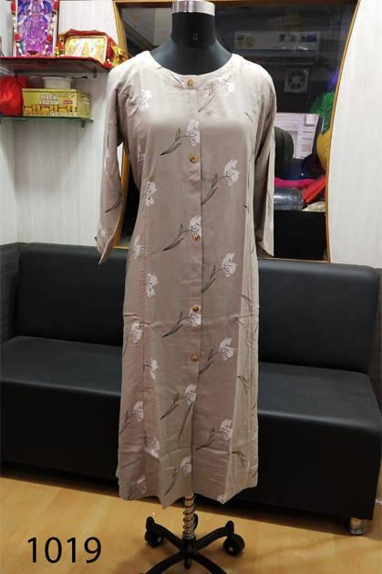 Avashya Rayon A-Line D1019 Kurti Size Set Wholesale 3 Pcs