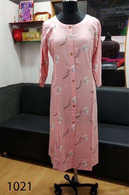 Avashya Rayon A-Line D1021 Kurti Size Set Wholesale 3 Pcs