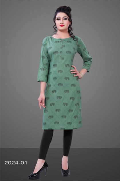 Avashya Rayon Straight 2024-01 Kurti Size Set Wholesale 3 Pcs