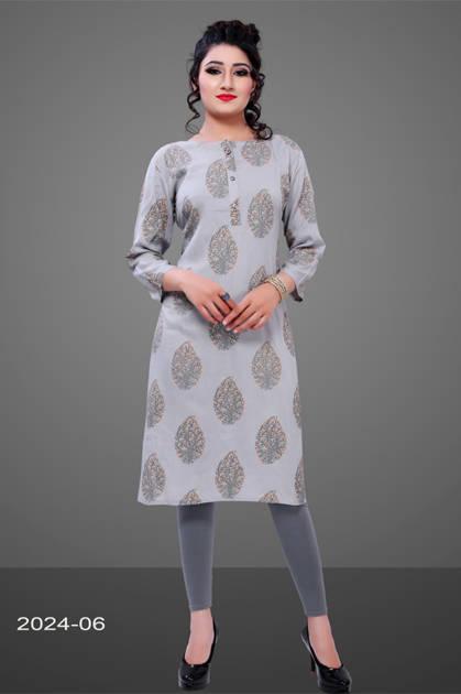Avashya Rayon Straight 2024-06 Kurti Size Set Wholesale 3 Pcs