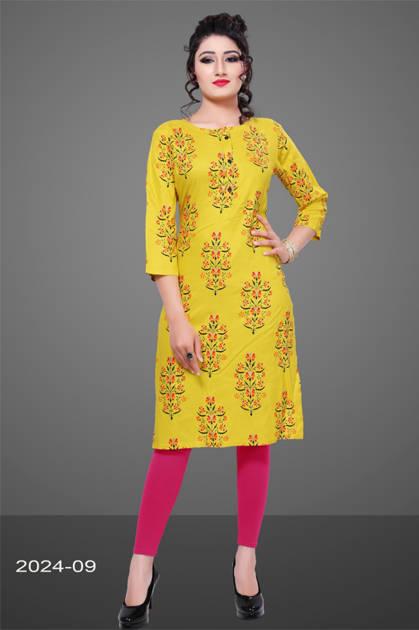 Avashya Rayon Straight 2024-09 Kurti Size Set Wholesale 3 Pcs
