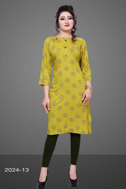 Avashya Rayon Straight 2024-13 Kurti Size Set Wholesale 3 Pcs