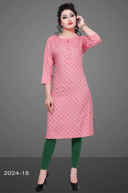 Avashya Rayon Straight 2024-18 Kurti Size Set Wholesale 3 Pcs