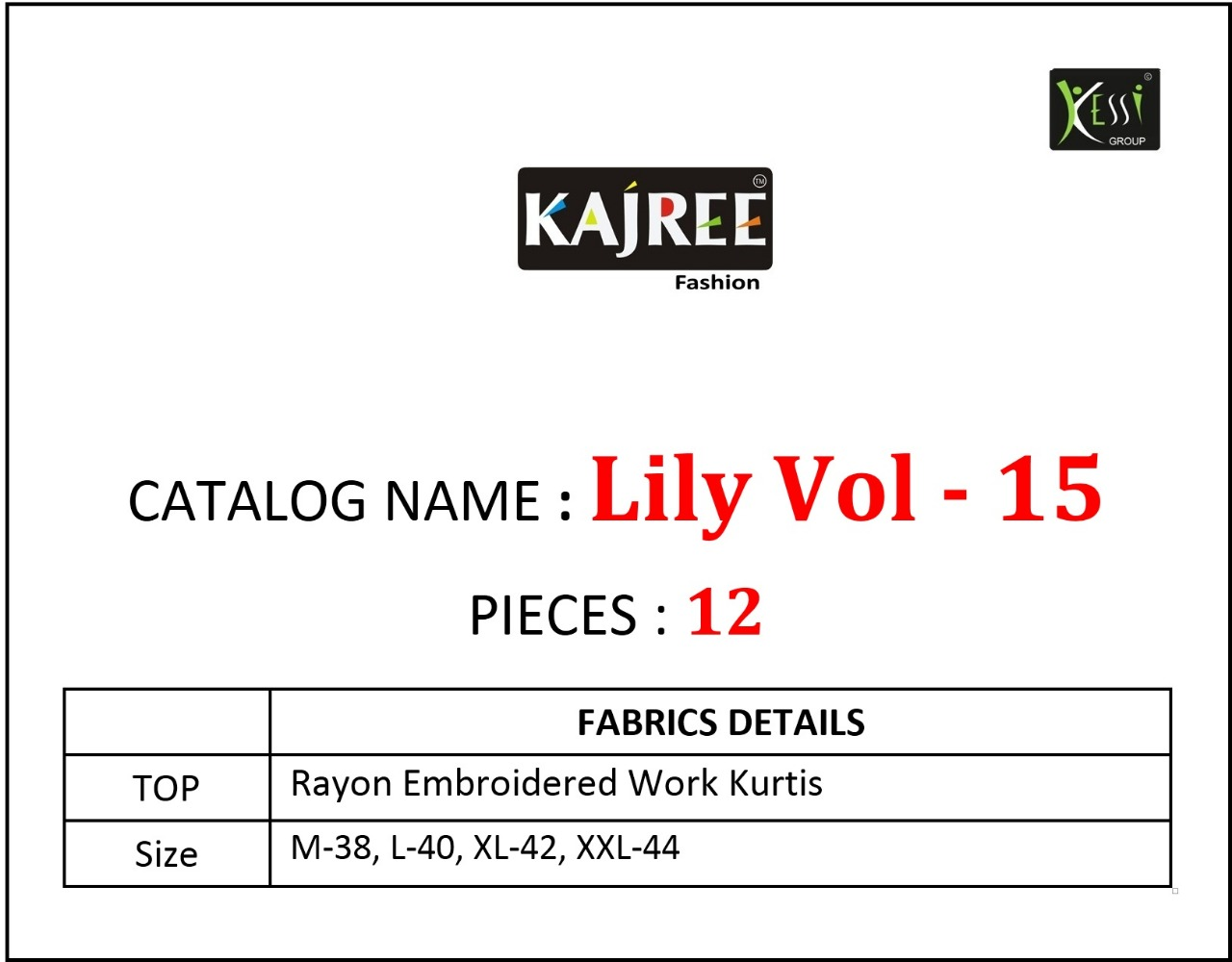 Kajree Lily Vol 15 Kurti Wholesale Catalog 12 Pcs 15 - Kajree Lily Vol 15 Kurti Wholesale Catalog 12 Pcs