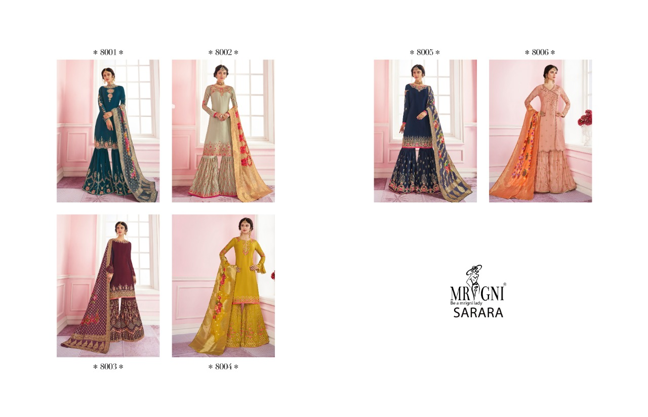 Mrigni Sarara Salwar Suit Wholesale Catalog 6 Pcs 8 - Mrigni Sarara Salwar Suit Wholesale Catalog 6 Pcs