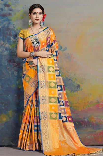 YNF Vamana Silk Saree Sari Wholesale Catalog 8 Pcs