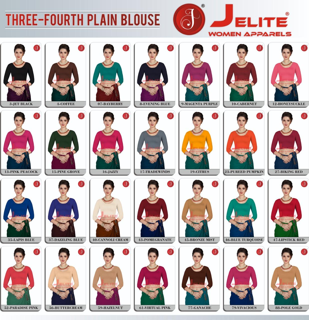 Jelite Blouse Vol 2 Wholesale Catalog 8 Pcs 9 - Jelite Blouse Vol 2 Three Fourth Plain Wholesale Catalog 8 Pcs