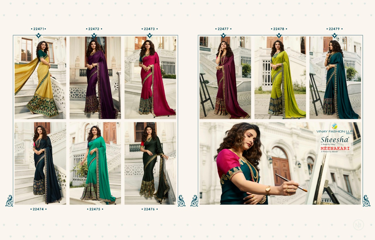 Vinay Sheesha Meenakari Prachi Desai Saree Sari Wholesale Catalog 9 Pcs 15 - Vinay Sheesha Meenakari Prachi Desai Saree Sari Wholesale Catalog 9 Pcs