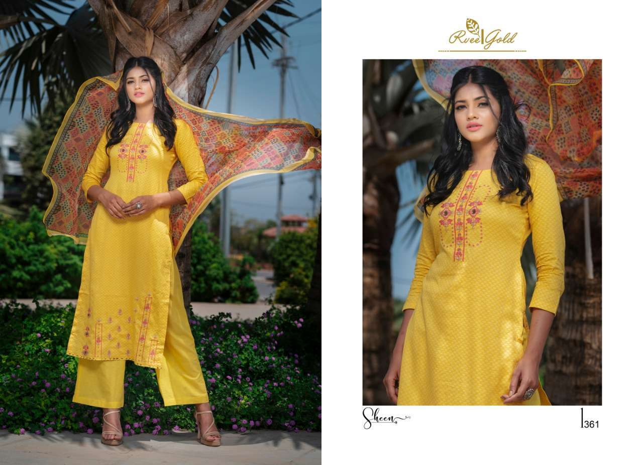 Rvee Gold Sheen Salwar Suit Wholesale Catalog 9 Pcs 6 - Rvee Gold Sheen Salwar Suit Wholesale Catalog 9 Pcs