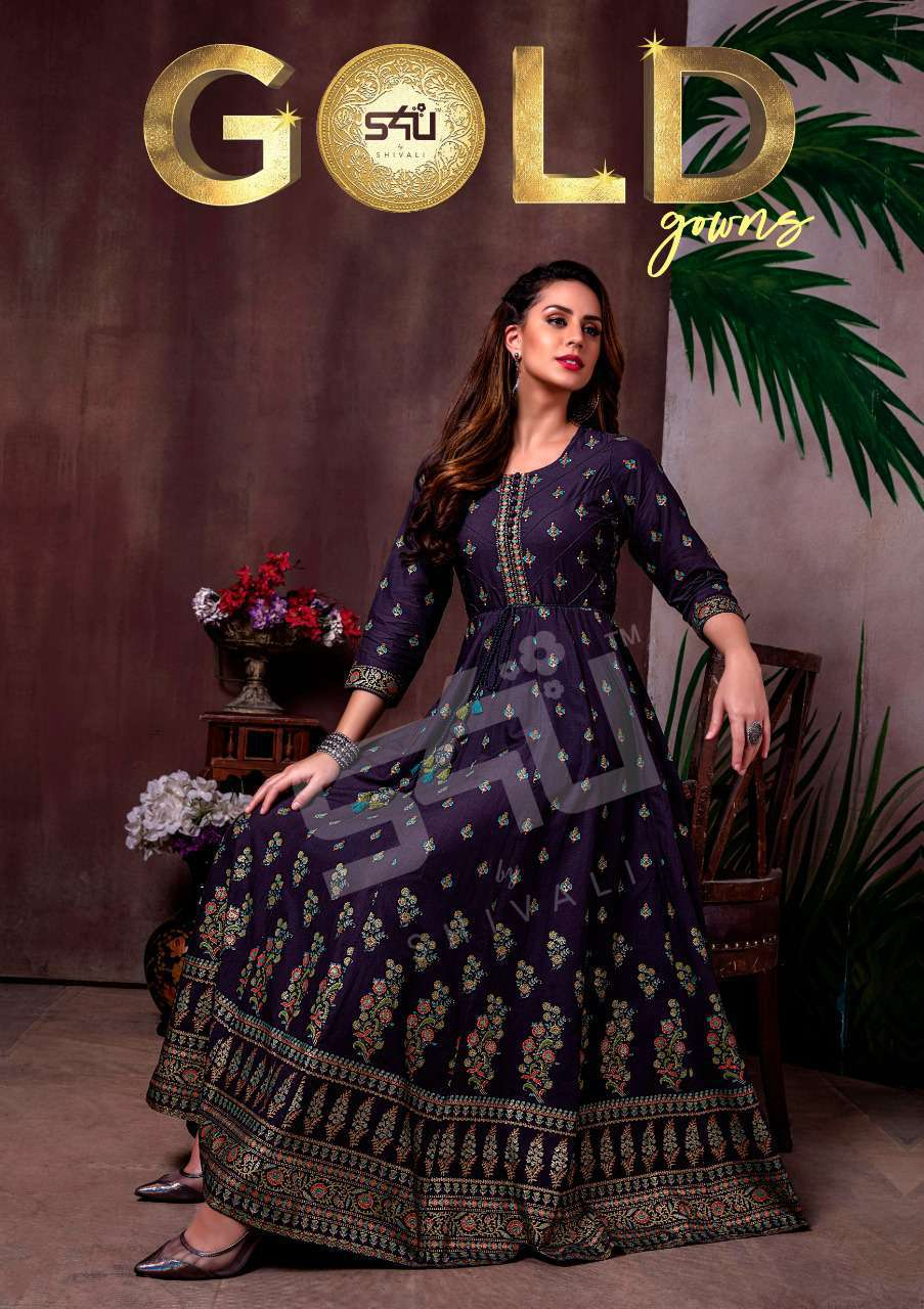 S4U by Shivali Gold Gown Kurti Wholesale Catalog 7 Pcs 1 1 - S4U by Shivali Gold Gown Kurti Wholesale Catalog 7 Pcs