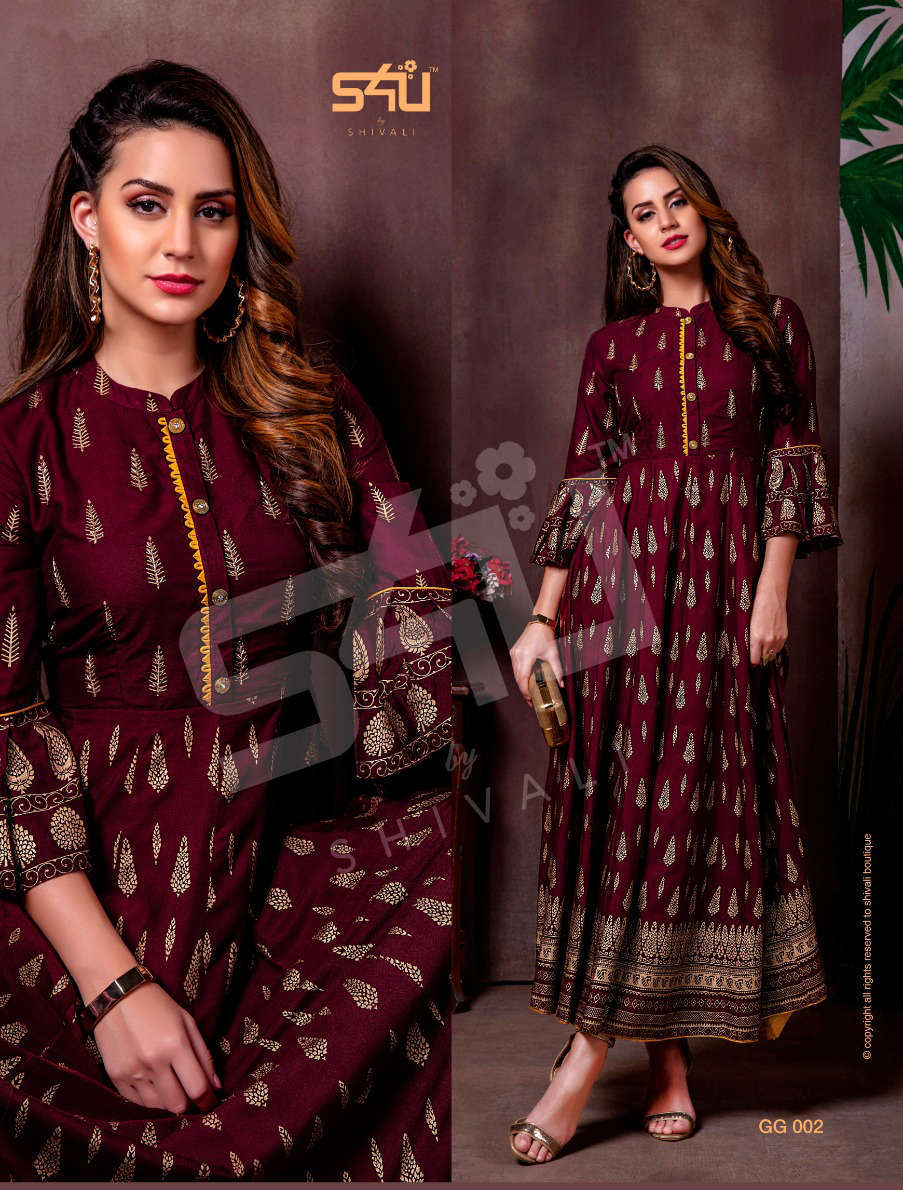 S4U by Shivali Gold Gown Kurti Wholesale Catalog 7 Pcs 2 1 - S4U by Shivali Gold Gown Kurti Wholesale Catalog 7 Pcs