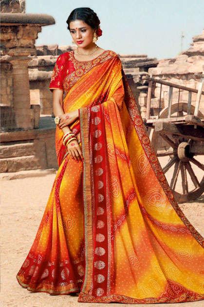 Kessi Bandhej Hits Saree Sari Wholesale Catalog 10 Pcs