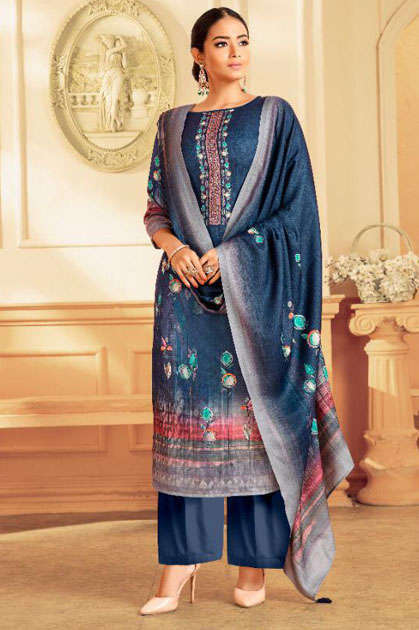 Adinath Palak Pashmina Salwar Suit Wholesale Catalog 8 Pcs