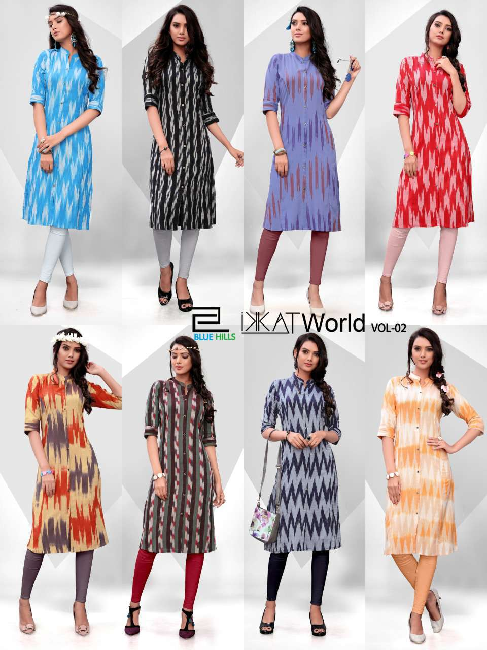 Blue Hills Ikkat World Vol 2 Kurti Wholesale Catalog 8 Pcs 9 - Blue Hills Ikkat World Vol 2 Kurti Wholesale Catalog 8 Pcs