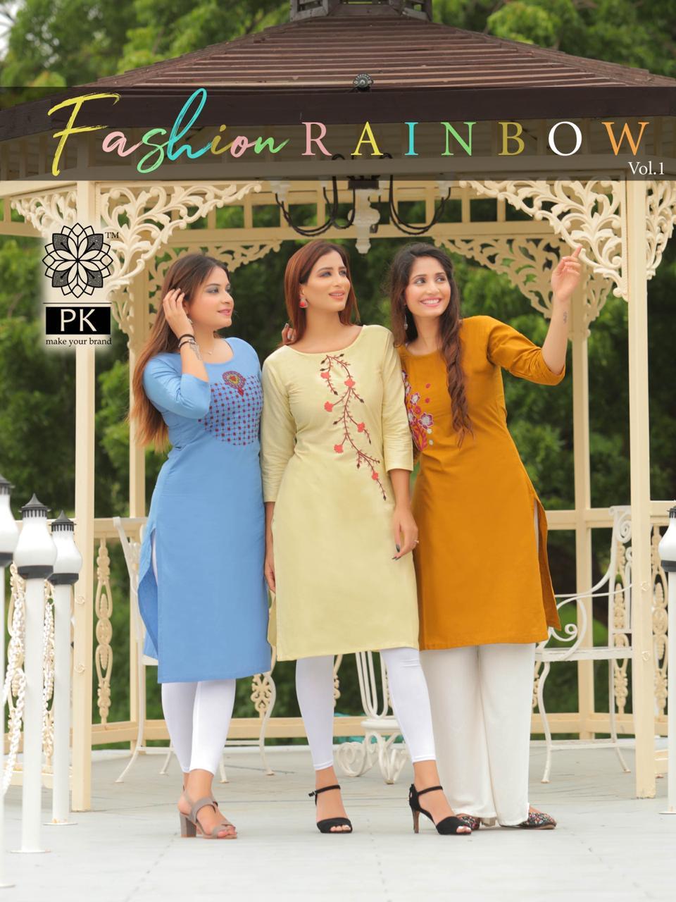 Pk Fashion Rainbow Vol 1 Kurti Wholesale Catalog 21 Pcs 1 - Pk Fashion Rainbow Vol 1 Kurti Wholesale Catalog 21 Pcs