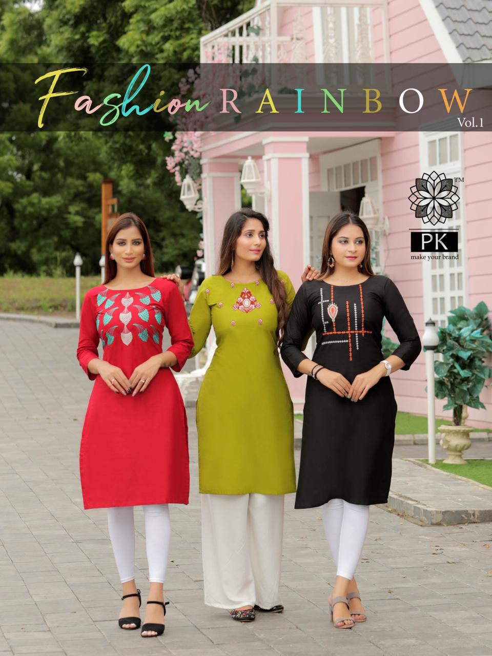 Pk Fashion Rainbow Vol 1 Kurti Wholesale Catalog 21 Pcs 2 - Pk Fashion Rainbow Vol 1 Kurti Wholesale Catalog 21 Pcs