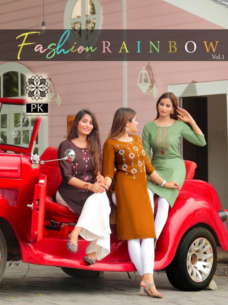 Pk Fashion Rainbow Vol 1 Kurti Wholesale Catalog 21 Pcs 3 - Pk Fashion Rainbow Vol 1 Kurti Wholesale Catalog 21 Pcs