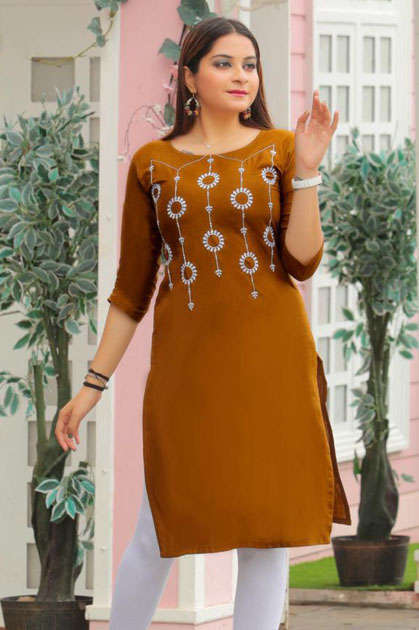 Pk Fashion Rainbow Vol 1 Kurti Wholesale Catalog 21 Pcs