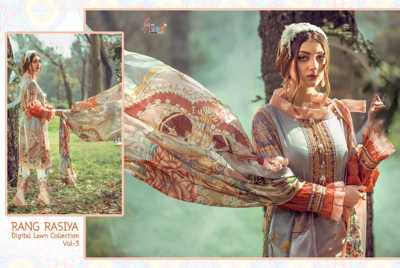 Shree Fabs Rang Rasiya Digital Lawn Collection Vol 3 Salwar Suit Wholesale Catalog 7 Pcs 10 - Shree Fabs Rang Rasiya Digital Lawn Collection Vol 3 Salwar Suit Wholesale Catalog 7 Pcs