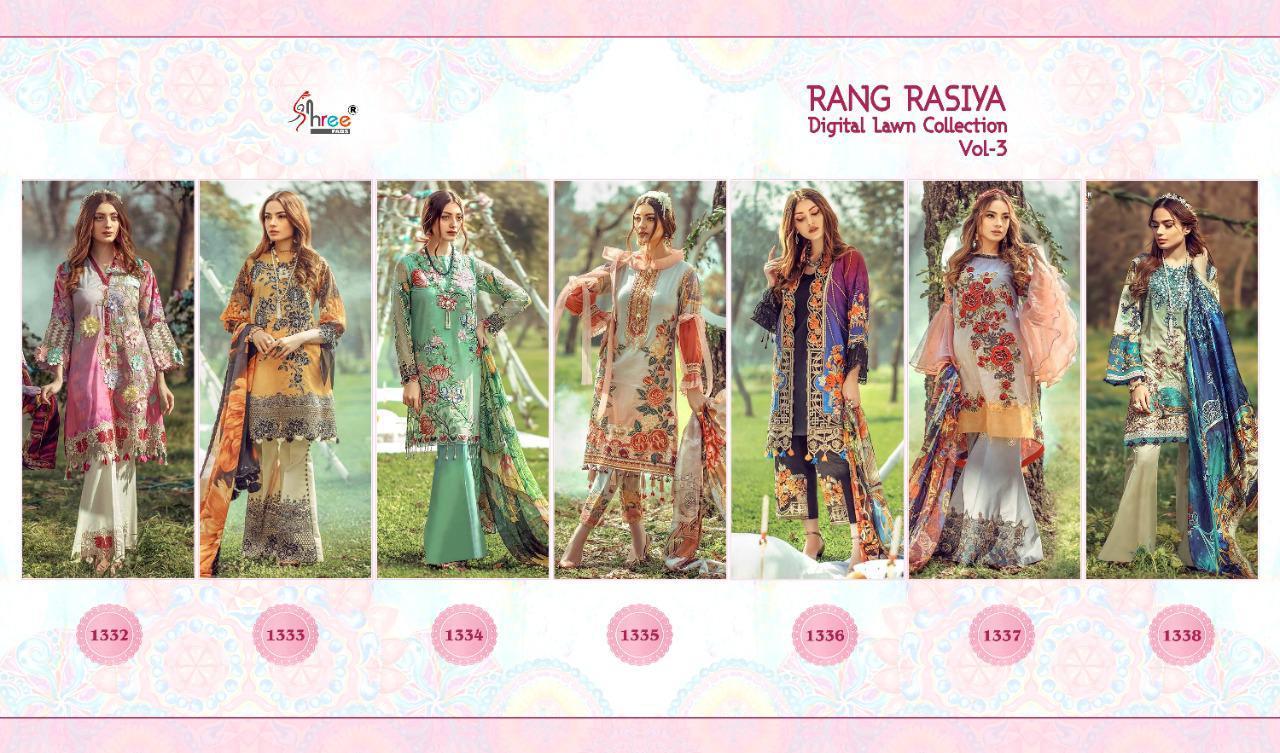 Shree Fabs Rang Rasiya Digital Lawn Collection Vol 3 Salwar Suit Wholesale Catalog 7 Pcs 17 - Shree Fabs Rang Rasiya Digital Lawn Collection Vol 3 Salwar Suit Wholesale Catalog 7 Pcs