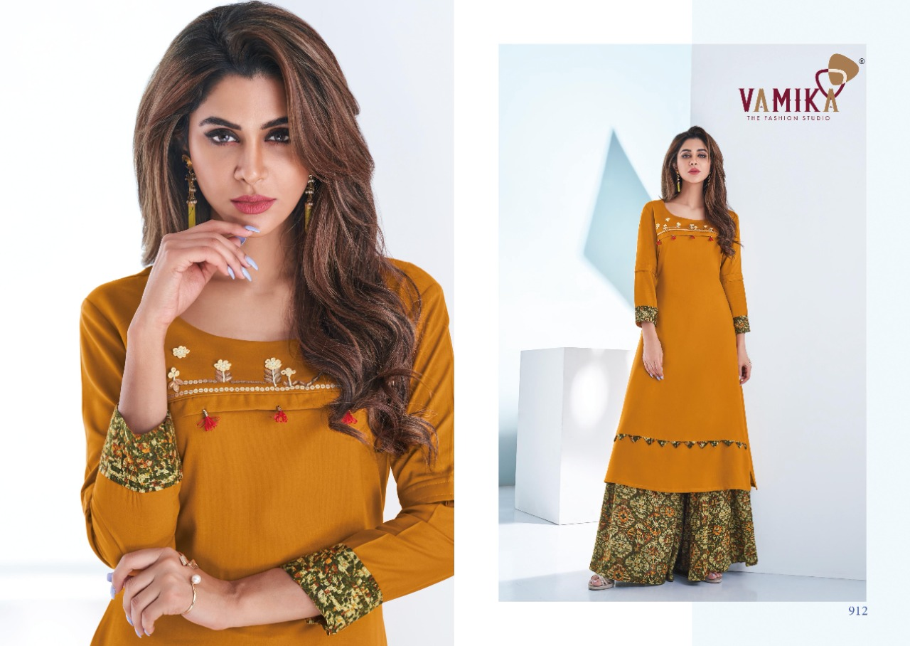 Vamika Plazo Vol 3 Kurti with Palazzo Wholesale Catalog 7 Pcs 10 - Vamika Plazo Vol 3 Kurti with Palazzo Wholesale Catalog 7 Pcs