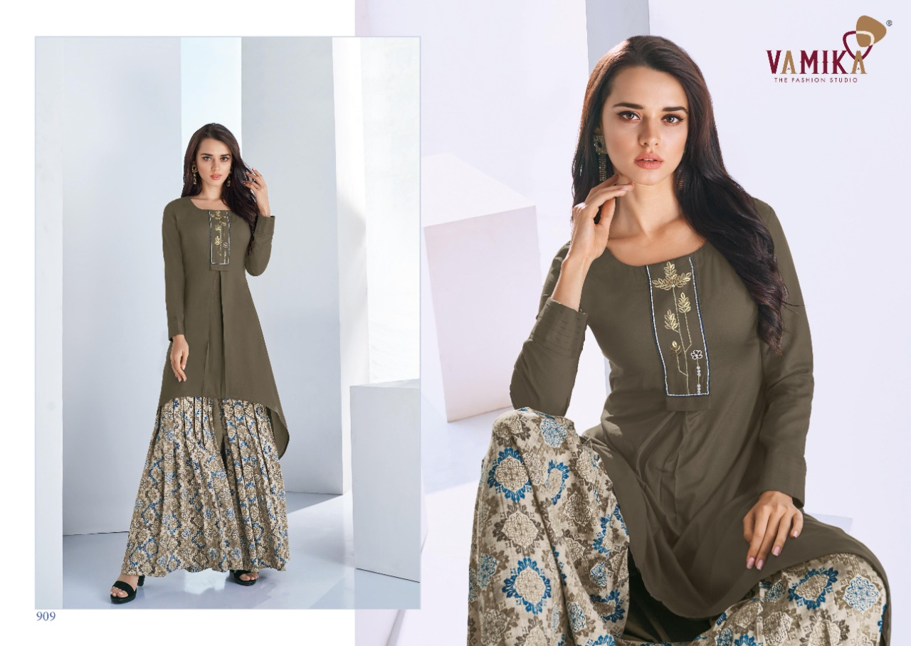 Vamika Plazo Vol 3 Kurti with Palazzo Wholesale Catalog 7 Pcs 12 - Vamika Plazo Vol 3 Kurti with Palazzo Wholesale Catalog 7 Pcs