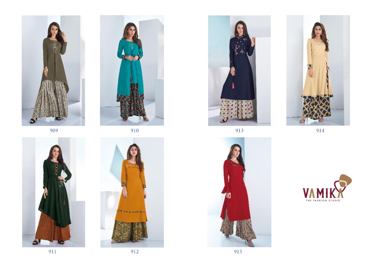 Vamika Plazo Vol 3 Kurti with Palazzo Wholesale Catalog 7 Pcs 13 - Vamika Plazo Vol 3 Kurti with Palazzo Wholesale Catalog 7 Pcs