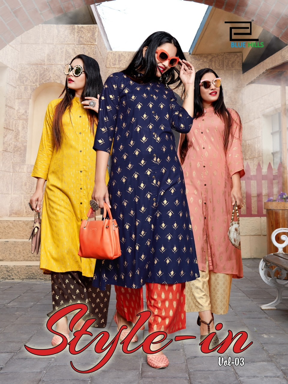 Blue Hills Style In Vol 3 Kurti with Palazzo Wholesale Catalog 5 Pcs 1 1 - Blue Hills Style In Vol 3 Kurti with Palazzo Wholesale Catalog 5 Pcs