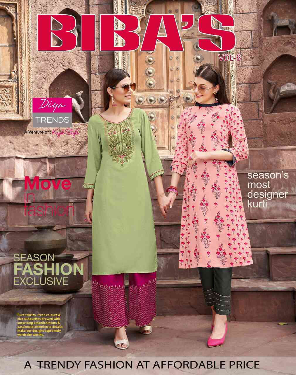 Diya Trends Biba's Vol 6 by Kajal Style Kurti with Palazzo or Pant Wholesale Catalog 14 Pcs 1 - Diya Trends Biba's Vol 6 by Kajal Style Kurti with Palazzo or Pant Wholesale Catalog 14 Pcs