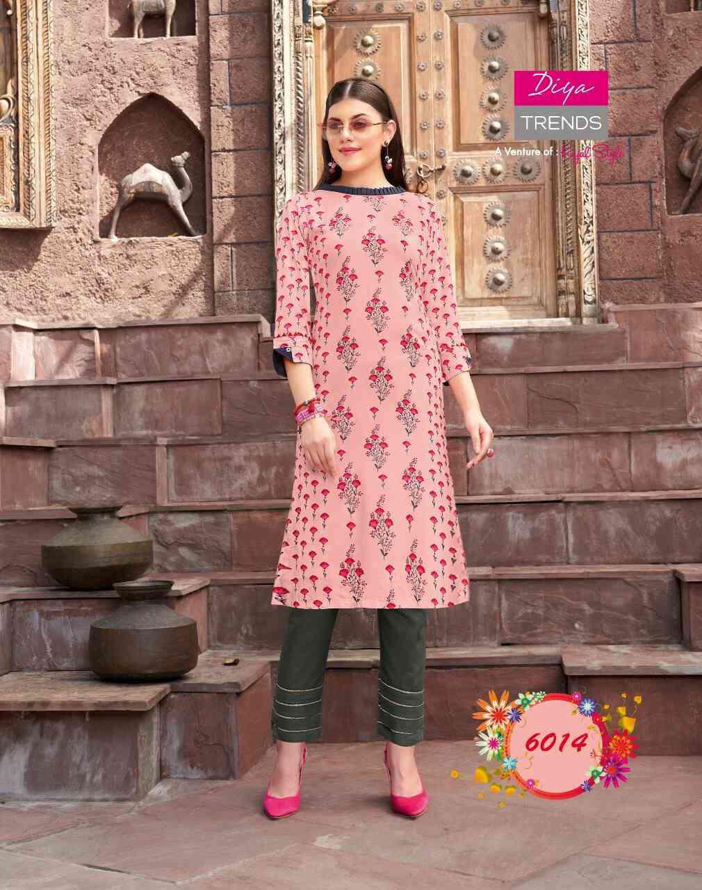 Diya Trends Biba's Vol 6 by Kajal Style Kurti with Palazzo or Pant Wholesale Catalog 14 Pcs 17 - Diya Trends Biba's Vol 6 by Kajal Style Kurti with Palazzo or Pant Wholesale Catalog 14 Pcs