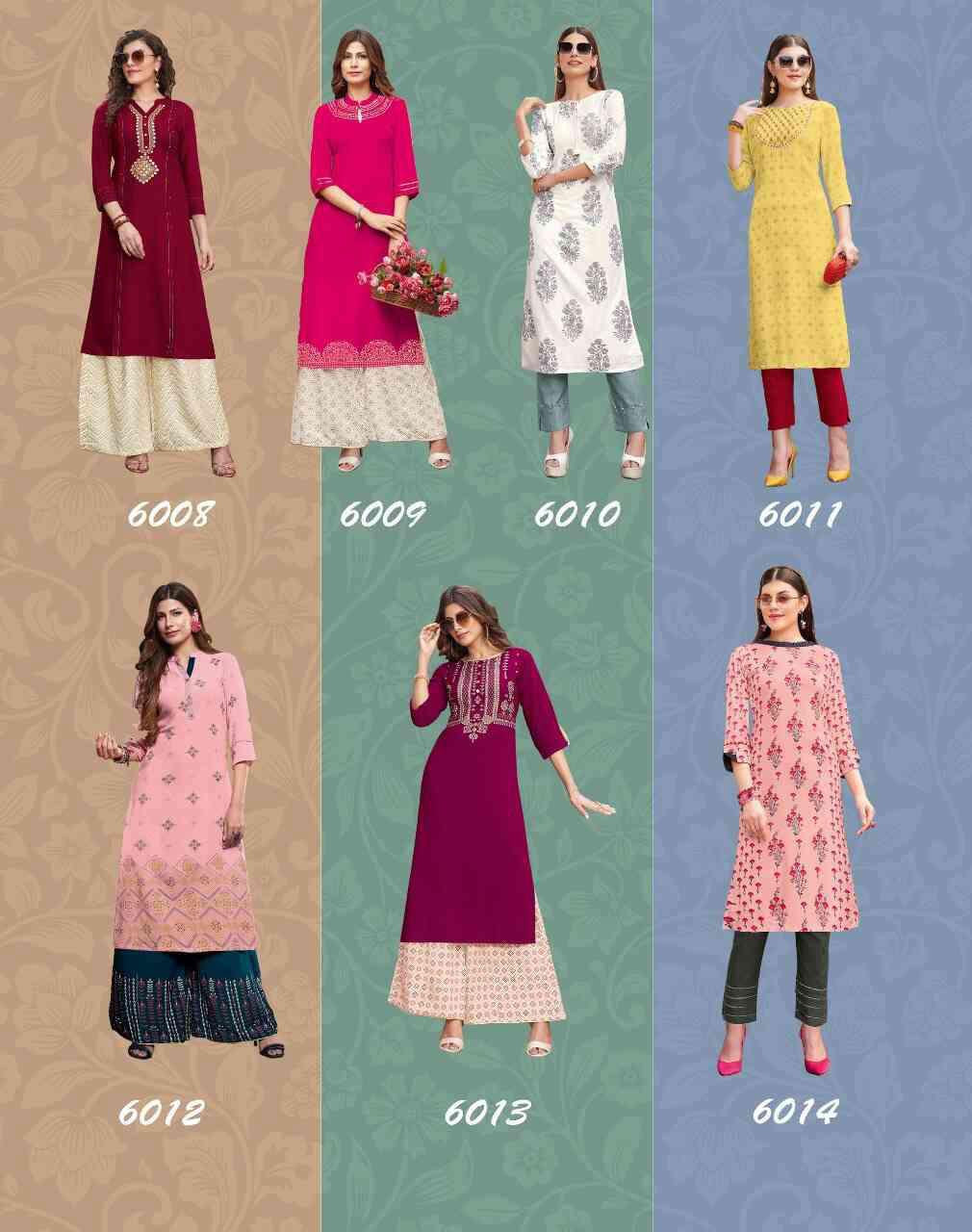 Diya Trends Biba's Vol 6 by Kajal Style Kurti with Palazzo or Pant Wholesale Catalog 14 Pcs 19 - Diya Trends Biba's Vol 6 by Kajal Style Kurti with Palazzo or Pant Wholesale Catalog 14 Pcs