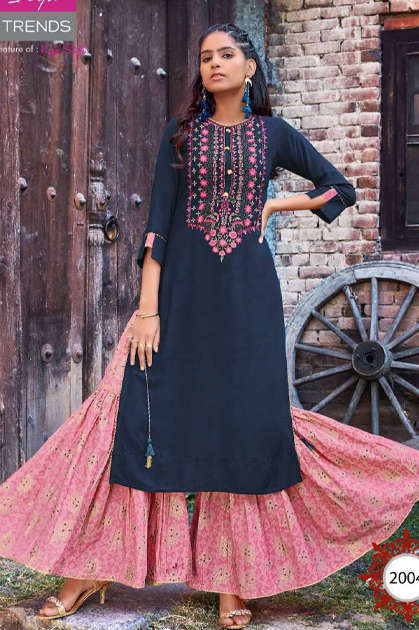 Diya Trends Florence Vol 2 by Kajal Style Kurti with Palazzo Skirt Sharara Wholesale Catalog 10 Pcs