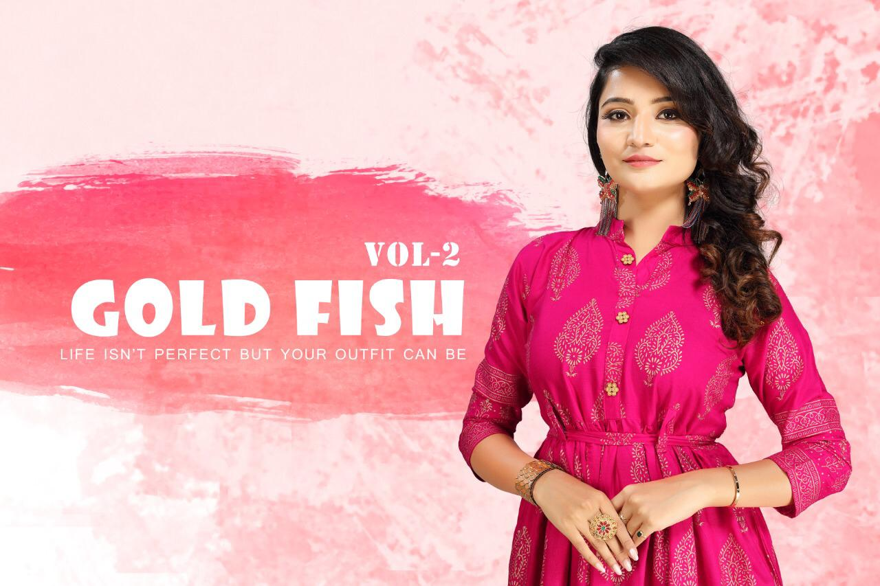 Gold Fish Vol 2 Kurti Wholesale Catalog 7 Pcs 8 - Gold Fish Vol 2 Kurti Wholesale Catalog 7 Pcs
