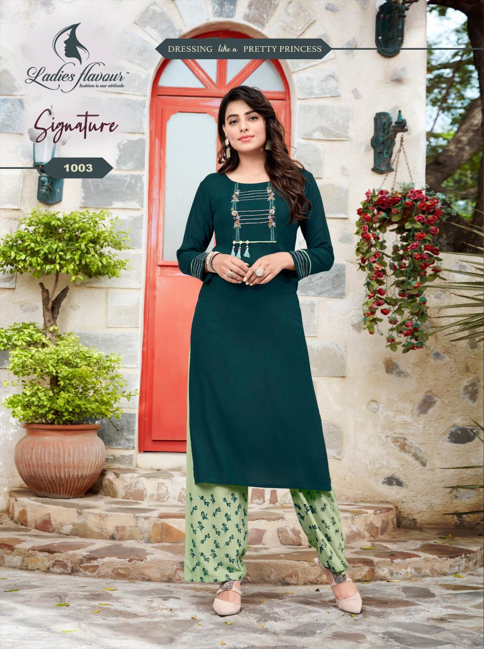 Ladies Flavour Signature Vol 3 Kurti with Palazzo Wholesale Catalog 8 Pcs 14 - Ladies Flavour Signature Vol 3 Kurti with Palazzo Wholesale Catalog 8 Pcs