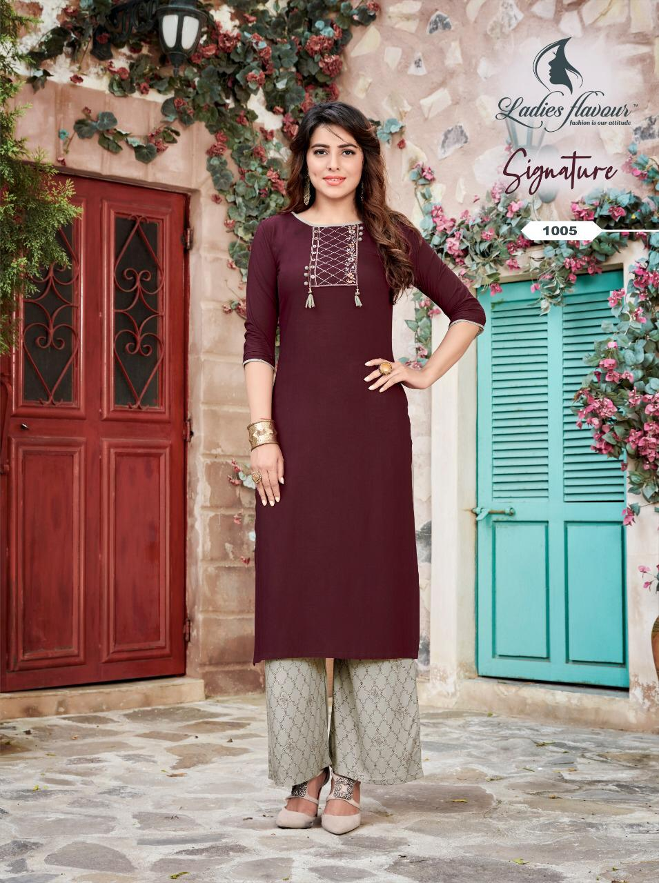 Ladies Flavour Signature Vol 3 Kurti with Palazzo Wholesale Catalog 8 Pcs 15 - Ladies Flavour Signature Vol 3 Kurti with Palazzo Wholesale Catalog 8 Pcs