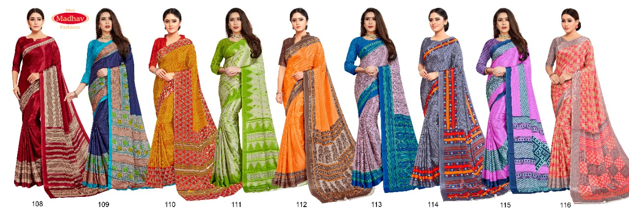 Madhav Fashion Samhitha Vol 1 Saree Sari Wholesale Catalog 9 Pcs 10 - Madhav Fashion Samhitha Vol 1 Saree Sari Wholesale Catalog 9 Pcs