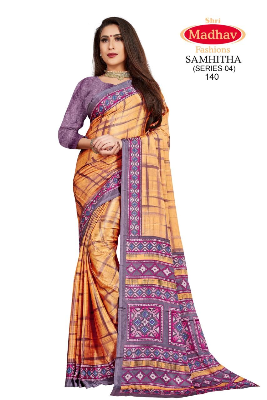 Madhav Fashion Samhitha Vol 4 Saree Sari Wholesale Catalog 9 Pcs 2 - Madhav Fashion Samhitha Vol 4 Saree Sari Wholesale Catalog 9 Pcs