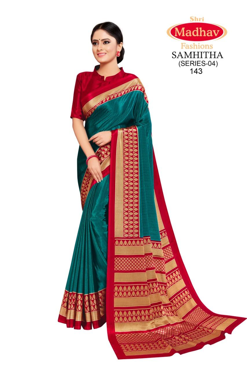 Madhav Fashion Samhitha Vol 4 Saree Sari Wholesale Catalog 9 Pcs 8 - Madhav Fashion Samhitha Vol 4 Saree Sari Wholesale Catalog 9 Pcs